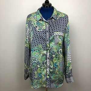 Liz-Claiborne-Size-3X-Paisley-Long-Sleeve-Multicolor-Botton-Down
