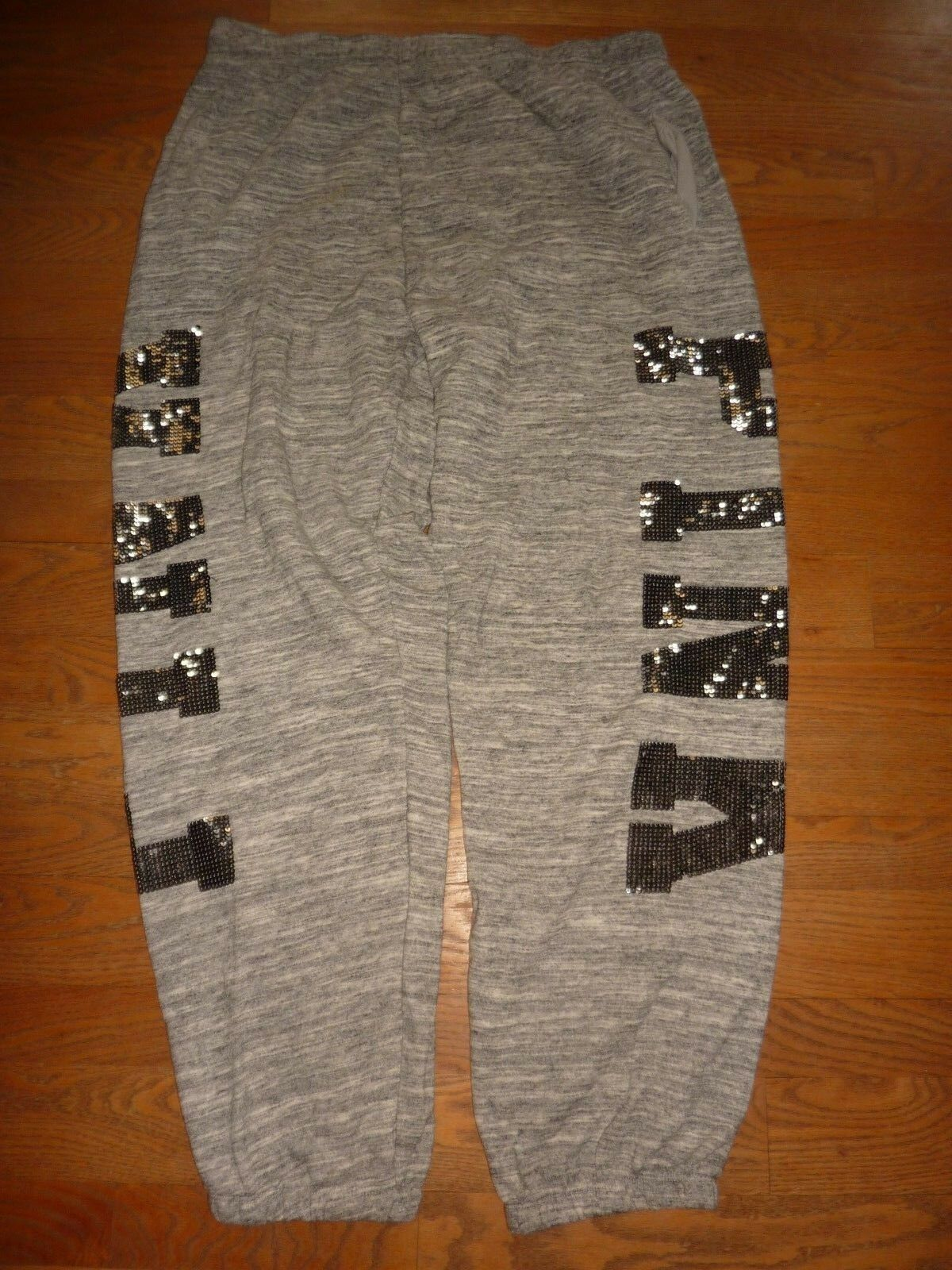 VICTORIAS SECRET PINK RARE MARLED BLING SEQUIN  PINK  CAMPUS PANT SWEATPANTS NWT