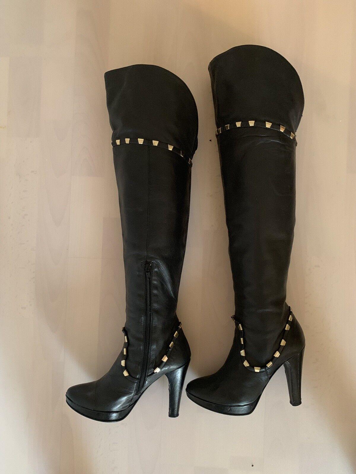 Overknee bottes véritable cuir 38 cuir bottes en cuir Jambières noir or rivets