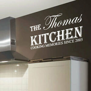 Personalized kitchen name art wall sticker quotes wall for Adesivi muro cucina