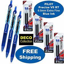 Pilor Precise V5 Rt Deco 3 Pens 4 Packs Of Refills Blue Ink 05mm Extra Fine