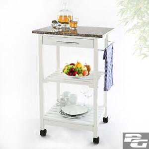 Küchentrolley aus Holz mit Granitplatte Servierwagen Küchenwagen ... | {Küchenwagen mit granitplatte 26}