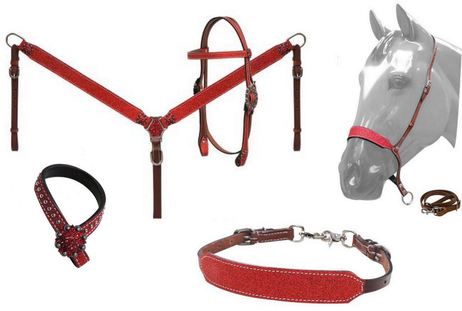 Western Bling  5pc Cuero Tachuela Set  Cabezada De Caballo Con Riendas + pecho Collar  entrega rápida