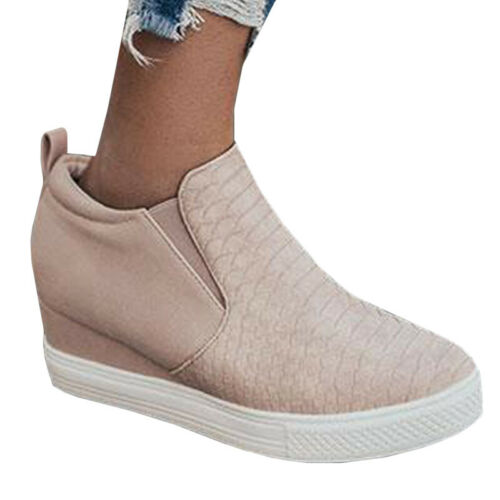 Womens Zipper Hidden Wedge Heel Ankle Boots Sneakers Trainers Casual Shoes Size