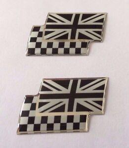 2 X Union Jack/chequered Flags Sticker/autocollant-chrome/noir Brillant En Forme De Dôme Gel-afficher Le Titre D'origine