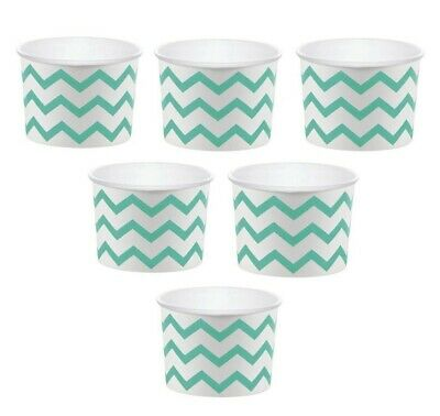 12 White Paper Disposable Treat Snack Serving Cups With Mint Green Pattern Ebay