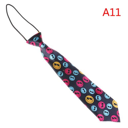 Satin colorful elastic neck tie for wedding prom boys children school kids ties