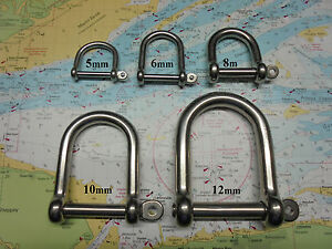 Wide-Jaw-D-Shackle-x-2-Marine-Grade-Stainless-Steel-316-Sizes-5-6-8-10-amp-12mm