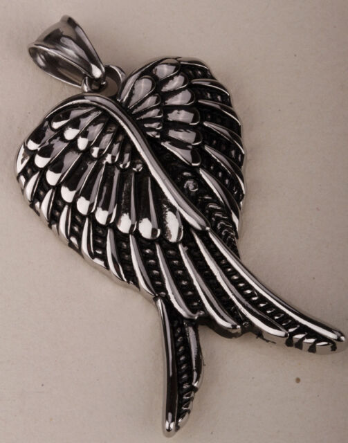 Wings necklace pendant W chain men women stainless steel jewelry GN03 dropship