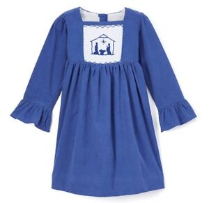 Smocked A Lot Girls Christmas Dress Red Gold Nativity Scene Away in a Manger 19