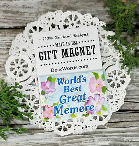 World's Best Great Memere * Gift Fridge MAGNET All Relatives Available New Pkg'd