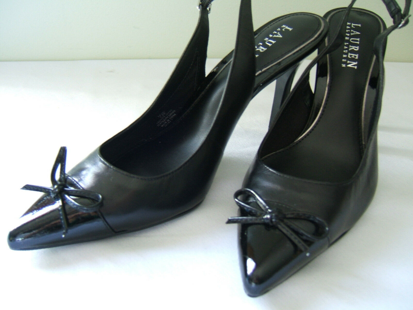 NEW Ralph Lauren nero Leather Pointed Toe Slingback Classic Pumps 7.5 B  120