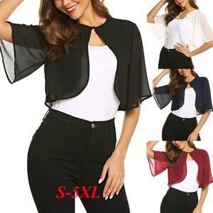Women-Summer-Flare-Short-Sleeve-Bolero-Sheer-Open-Front-Shrug-Cropped-Cardigan