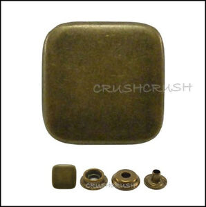 10sets-17-32-034-Flat-Square-Cap-Ring-Snap-Buttons-Fastener-Antique-Brass-V9214