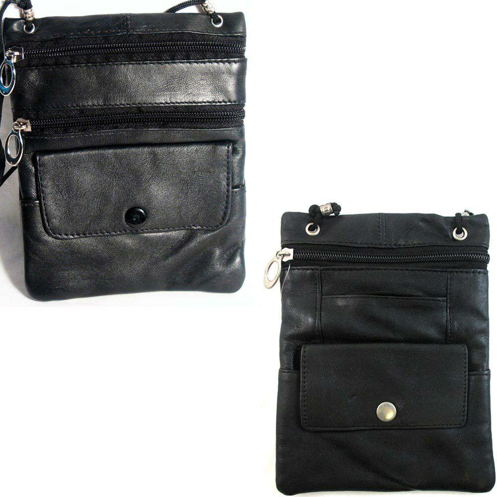 Black leather travel neck wallet.