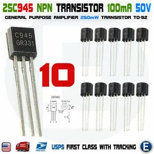 TO-92 audio transistor USA seller 50pcs 25 pairs of 2SA733 /& 2SC945  A733 //C945