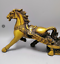 """10.8""""""""China antique Collection brass Horse PULL vehicle Yuanbao Carve image"""