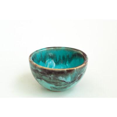 Turquoise and Beige Ceramic Tea Bowl Handmade Pottery Unique
