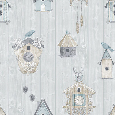 BIRDHOUSE BLUE BIRDS BIRDHOUSE QUALITY FEATURE DESIGNER WALLPAPER 229004 RASCH