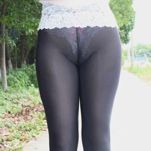 Damen Schier seidig Leggings Oberschenkel durchsichtig Skinny Stift erotisch