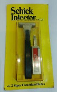 Vintage-1974-Schick-Injector-Safety-Razor-USA-with-2-Super-Chromium-Blades