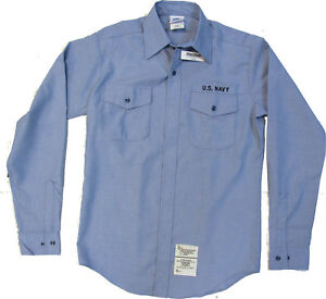 Men-039-s-U-S-Navy-Utility-Work-Shirt-CHAMBRAY-Long-Sleeve-Size-M-36SL