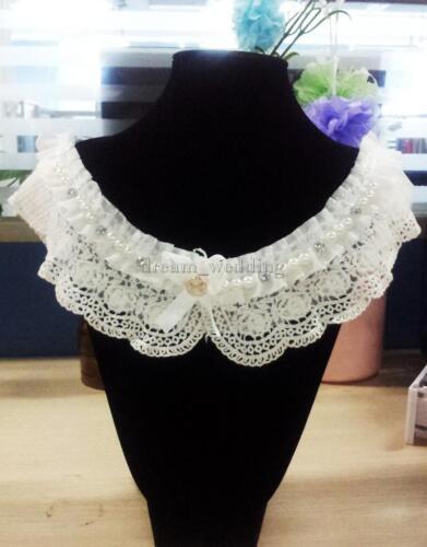 Damen Spitze Kragen Peter Pan vornehme Collar m Perlen Vintage Stil weiß