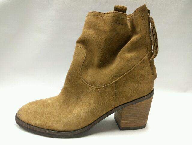 c60e9eb9ab81 Womens 8M SAM EDELMAN Farrell Brown Suede Rear Tassel Zip High Heel Ankle  Boots