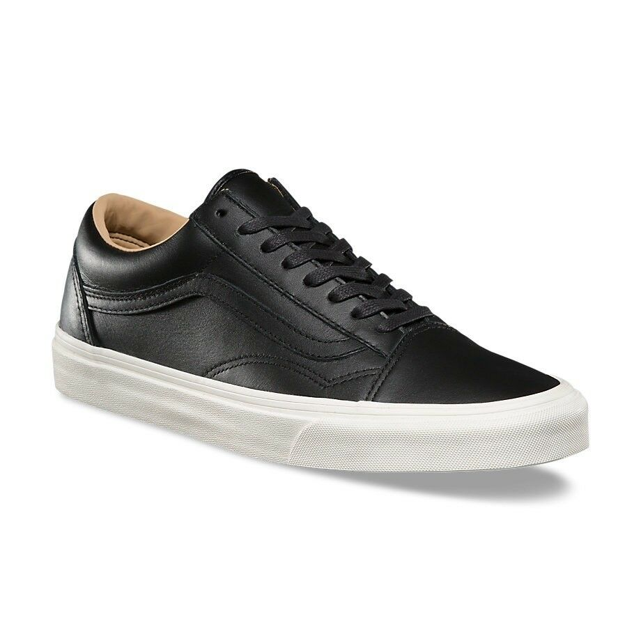 VANS BLACK OLD SKOOL LUX LEATHER BLACK VANS PORCINI TRAINERS 8be426