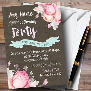 Image Is Loading Vintage Burlap Style Floral 40th Personalised Birthday Party