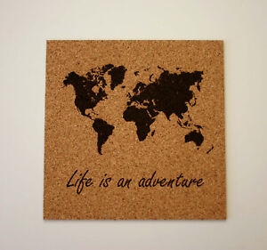 Details about World Map Etched Cork Board Push Pin Bulletin Board LIfe is  an adventure