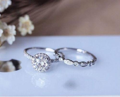 Women's 1.5 Ct Round Diamond Engagement Wedding Bridal set 14kt White gold Over