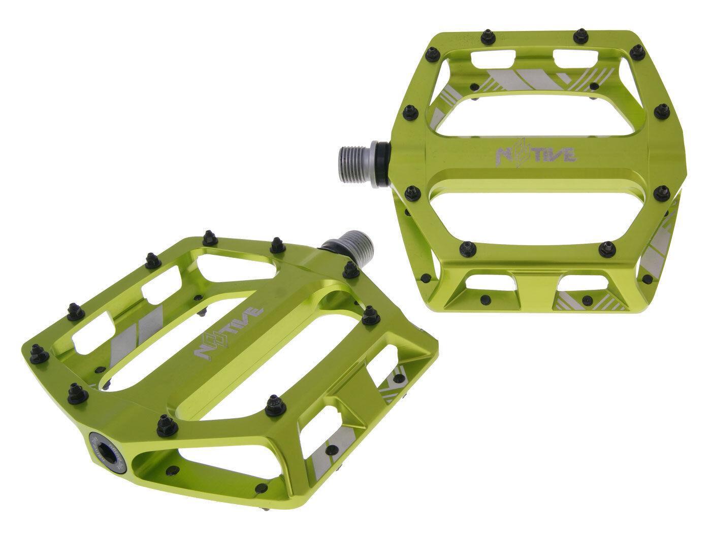 N8tive Piatto Pedal Set XC 99x100mm verde Bmx MTB Mountain Bike Downhill Bici