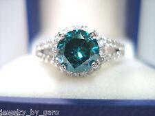 1.70 CARAT ENHANCED BLUE AND WHITE DIAMOND ENGAGEMENT RING 14K WHITE GOLD HALO