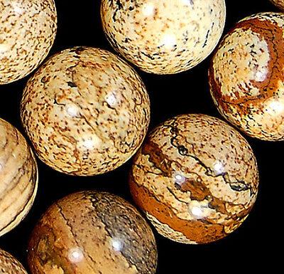 """10mm Yellow Picture Jasper Round Beads 15.5"""""""