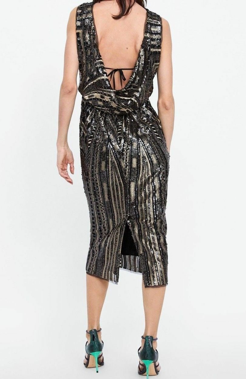 23d2aa73488 ZARA WOMAN LOW-CUT BACK TUBE DRESS WITH SEQUINS BLACK GOLD S 8433 586 NEW  AW18
