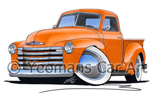 chevrolet 3100 pick up camion caricature retro classic voiture am ricaine art print ebay. Black Bedroom Furniture Sets. Home Design Ideas