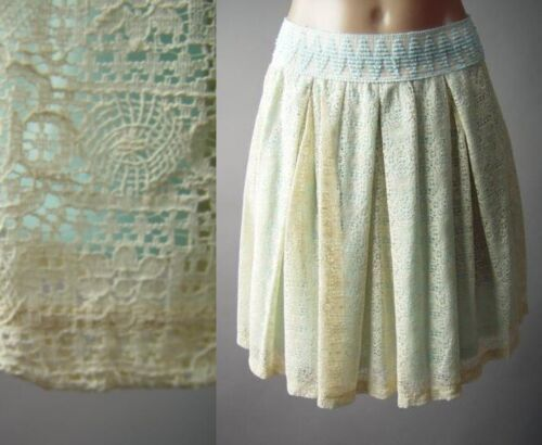 Ivory Crochet Lace High Waist Waisted Party Full Flare Pleated 296 mvp Skirt M L