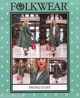 Folkwear 254 Swing Coat W/back Yoke & Pleat Xs-xl Easy Sewing Pattern