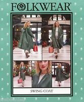 Folkwear 254 Swing Coat W/back Yoke & Pleat Xs-xl Easy Sewing Pattern