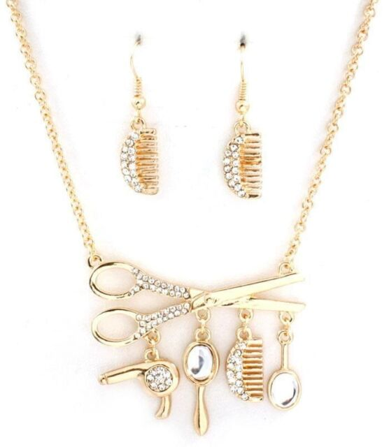 Scissors Stylist Set Pendant Women Austrian Crystal Necklace Gold Plated New