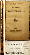 REVOLUTION FRANCAISE/MAISON CIVILE DU ROI/1820/ENVOI AU COMTE DE LA CHATRE/RARE