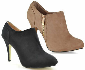 Ladies-Womens-Faux-Suede-High-Heel-Ankle-Boots-Shoes-Zip-Cream-Black-Sexy-Size
