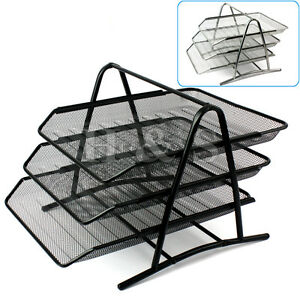 Wire-Mesh-Office-A4-Document-Letter-Paper-Organiser-Storage-Filing-Trays-Holder