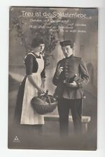 "[43294] 1913 WORLD WAR I GERMAN PHOTO POSTCARD ""FAITHFUL LOVE OF SOLDIERS"""