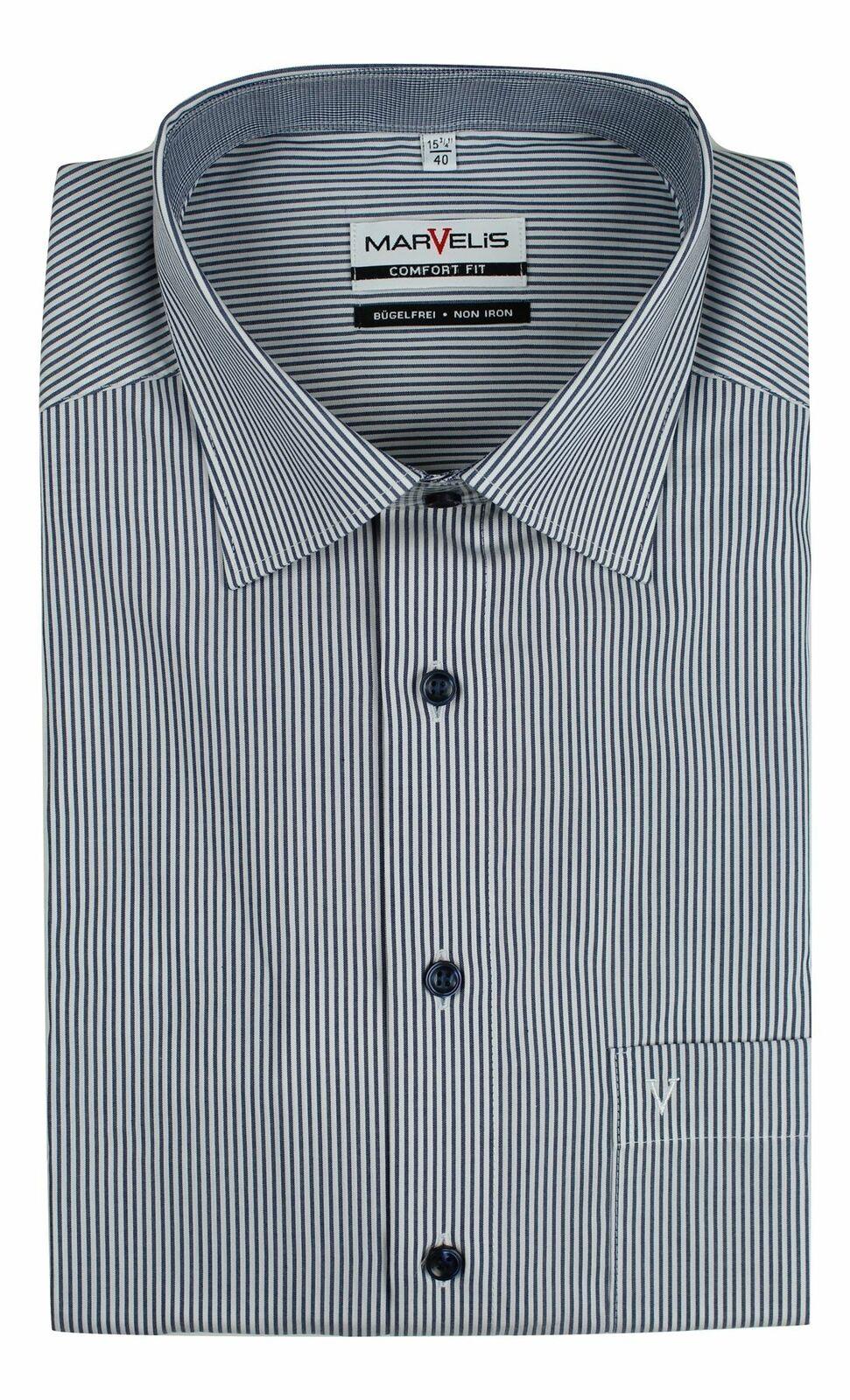 Denim Stripe Contrast Spread Collar