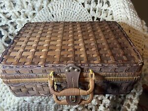 Vintage Suitcase Large Decorative Basket Wicker Rattan Storage Picnic Loaded!!