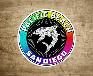 3-034-Pacific-Beach-San-Diego-BEACH-Decal-Sticker-California-Shark-Surfing-Surf