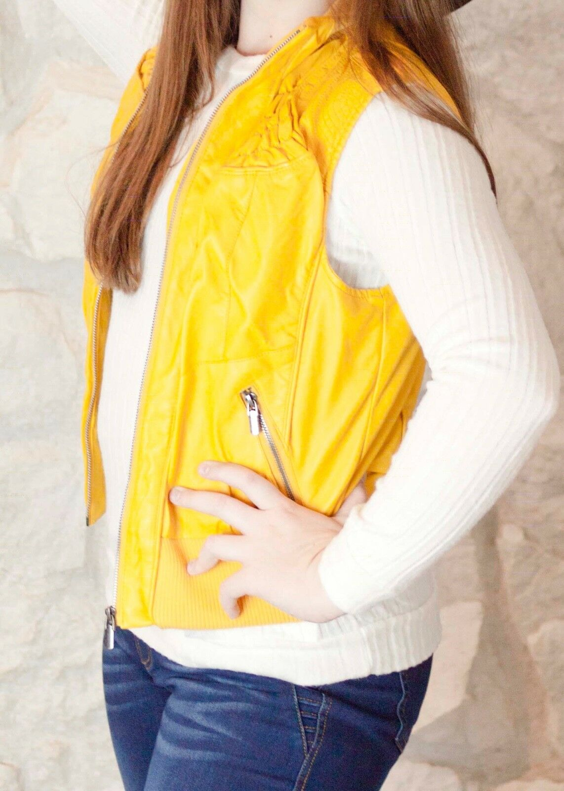 Mustard Womens Fur Lined Faux Leather Vest with Ruched Ruched Ruched Shoulder Detail 6f9bf6