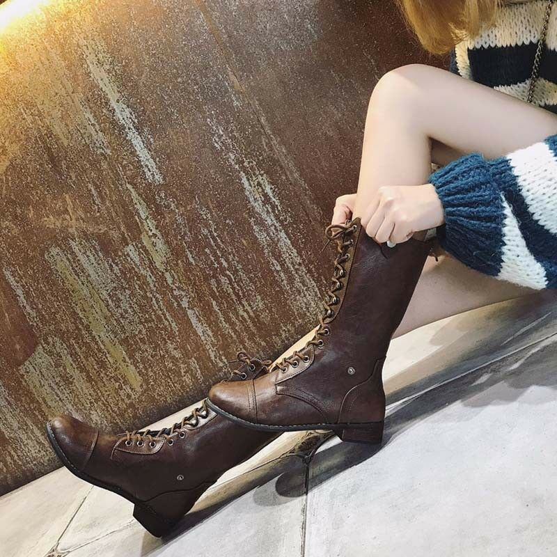Womens Mid Calf PU Leather Martin Boots Casual Motorcycle Lace-Up Punk shoes New